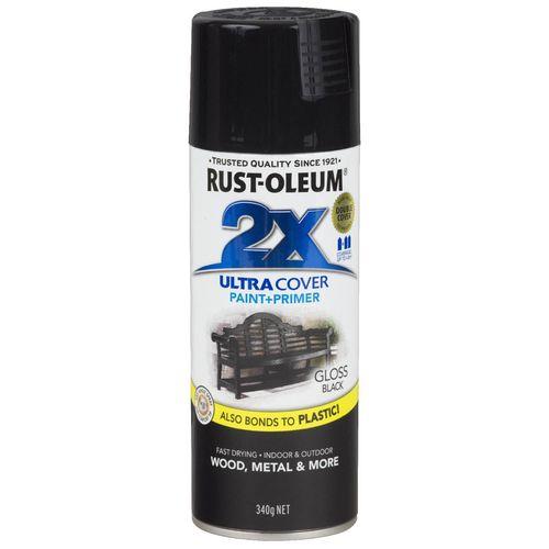 Rust-Oleum 340g 2X Ultra Cover Paint+Prime Gloss Black Spray Paint