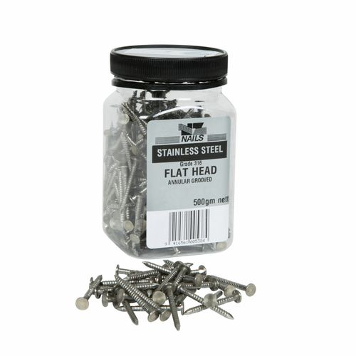 NZ Nails 150 x 6mm Stainless Flat Head Nail - 500g Pack