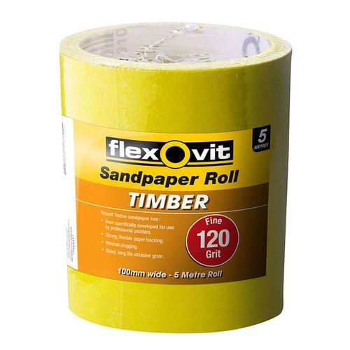 Flexovit 100mm x 5m 120 Grit Timber Sandpaper Roll