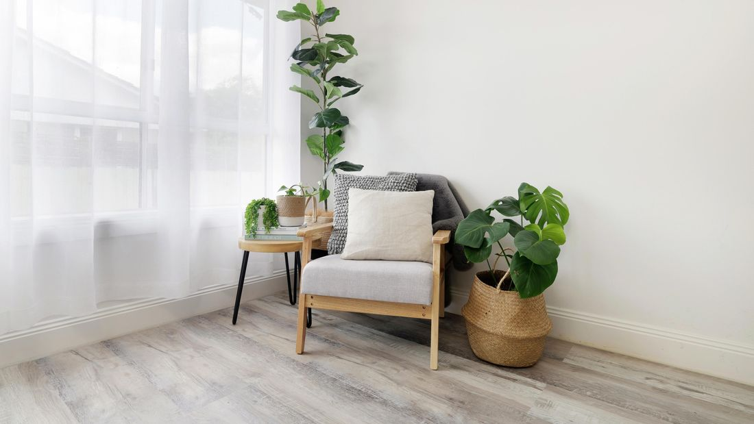 Newly laid grey vinyl plank floors with an armchair and potted plants.