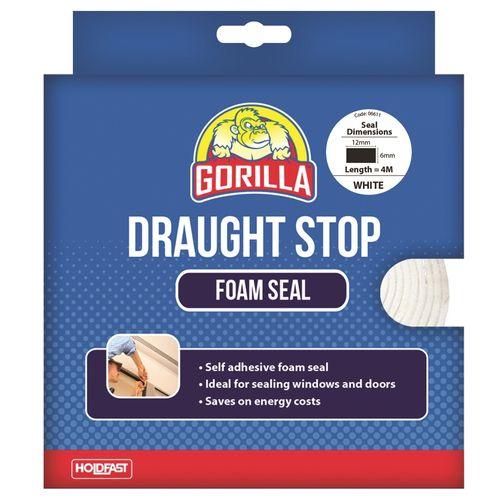 Gorilla 12 x 6mm x 4m White Draught Stop Foam Seal