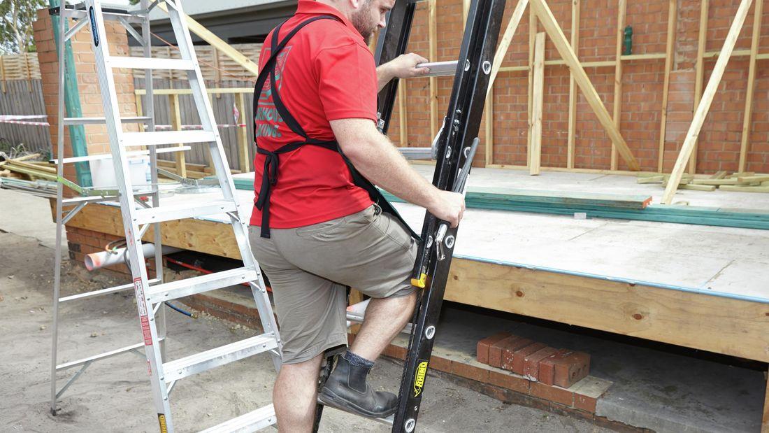 A person climbing a ladder holding a ladder limb