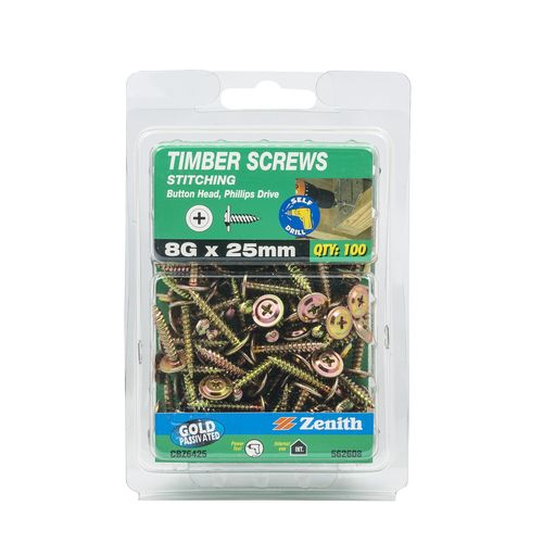 Zenith 8G x 25mm Gold Passivated Button Head Timber Screws - 100 Pack