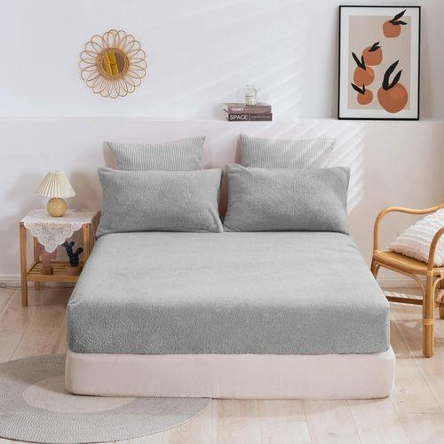 Dreamaker Tedding Fleece Fitted Sheet Set Silver