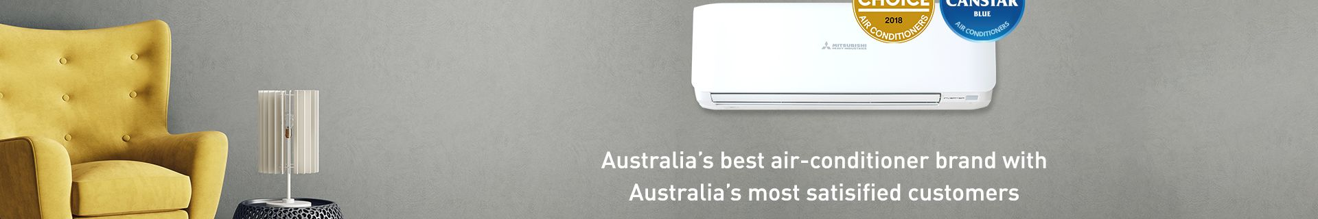 Lounge room with air conditioner and yellow couch. Australia's best air conditioner brand with Australia's most satisified customers.