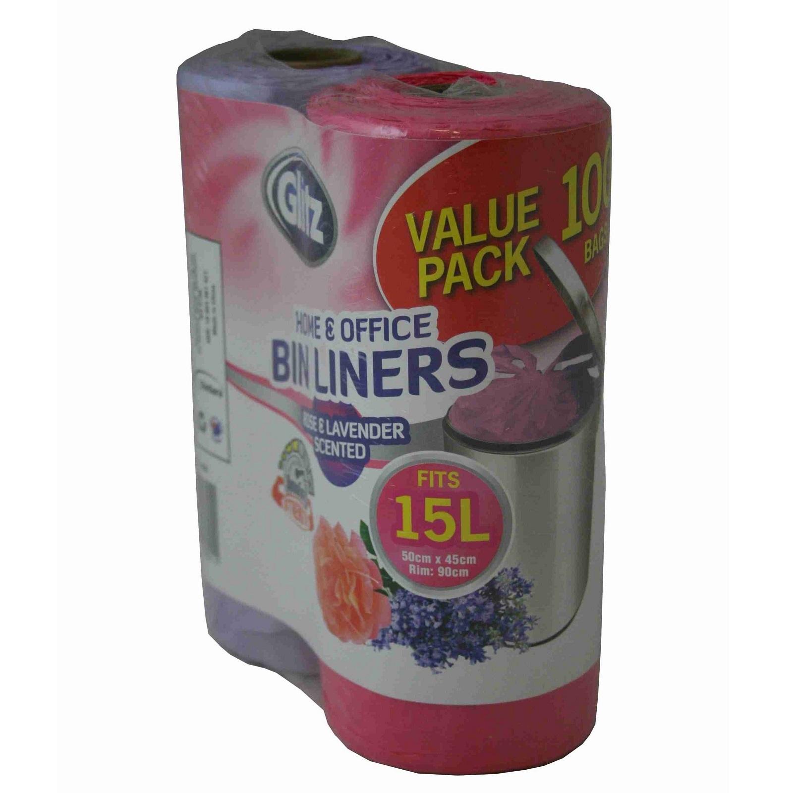 Glitz 15L Medium Scented Tie Top Kitchen Bin Liners - 100 Pack