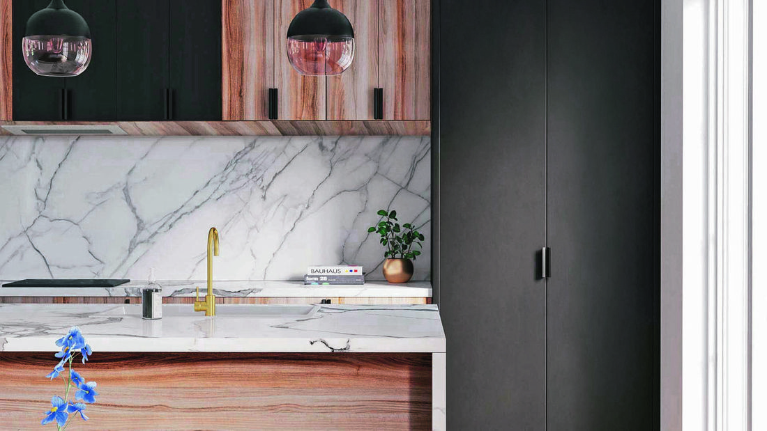 Close up of Kaboodle marble-look kitchen benchtop, sink and brushed brass sink mixer