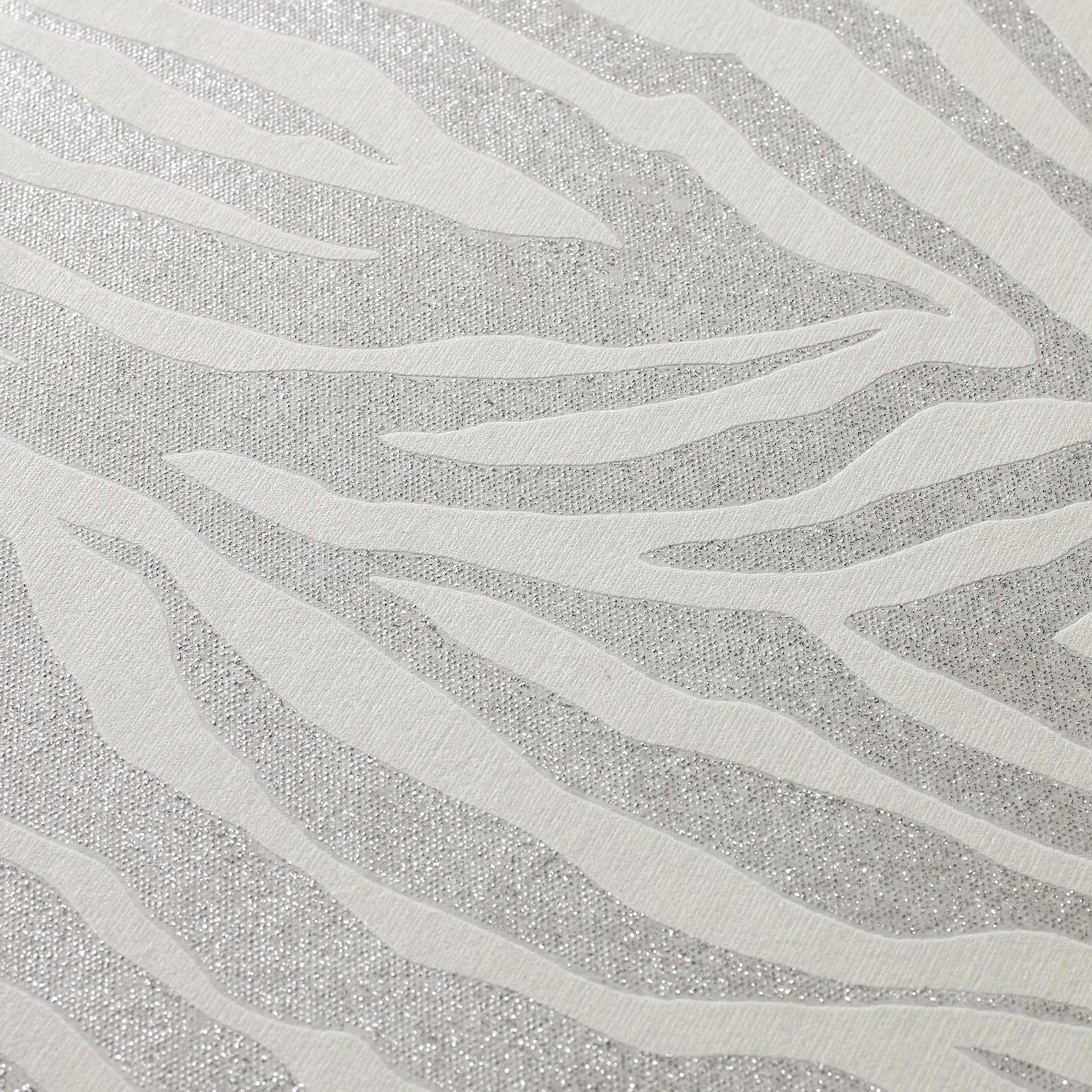 Superfresco Easy Zebra Silver Glitter Wallpaper - Sample Zebra Silver Glitter