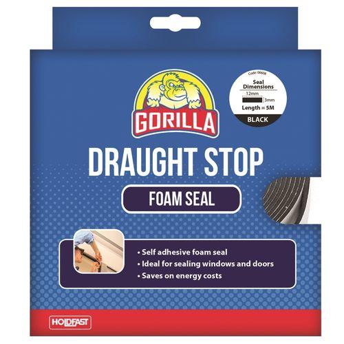 Gorilla 12mm x 3mm x 5m Black Draughts Stop Foam