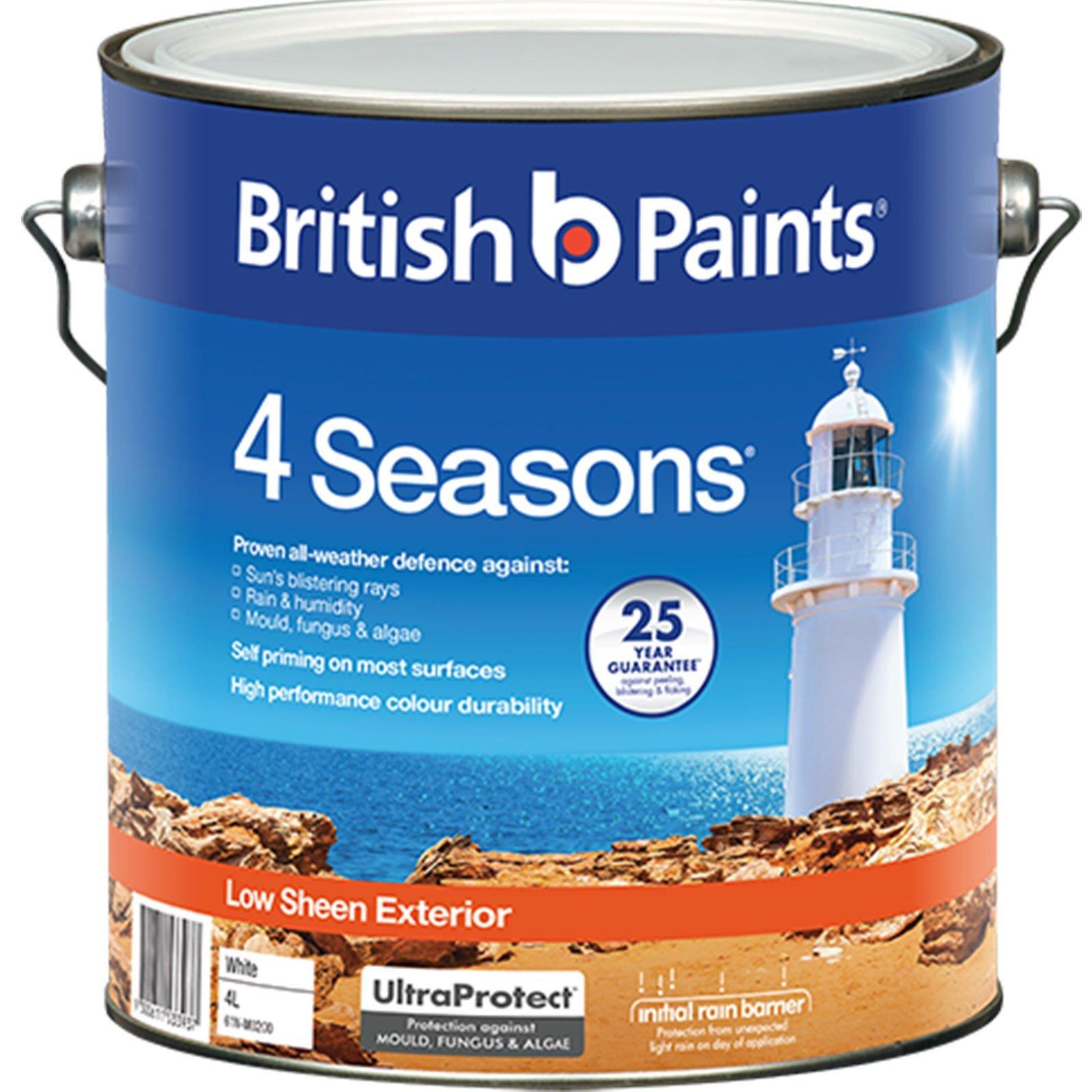 British Paints 4L 4 Seasons Low Sheen White Exterior Paint