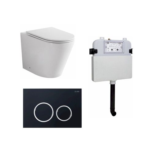 Zumi Java Concealed Cistern With Round ABS Plastic Black Flush Plate and Pan