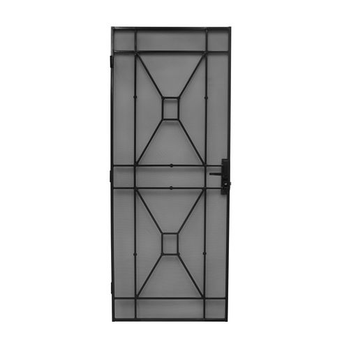 Bastion 2032 x 813mm Gloss Black Sutton Metric Steel Frame Screen Door