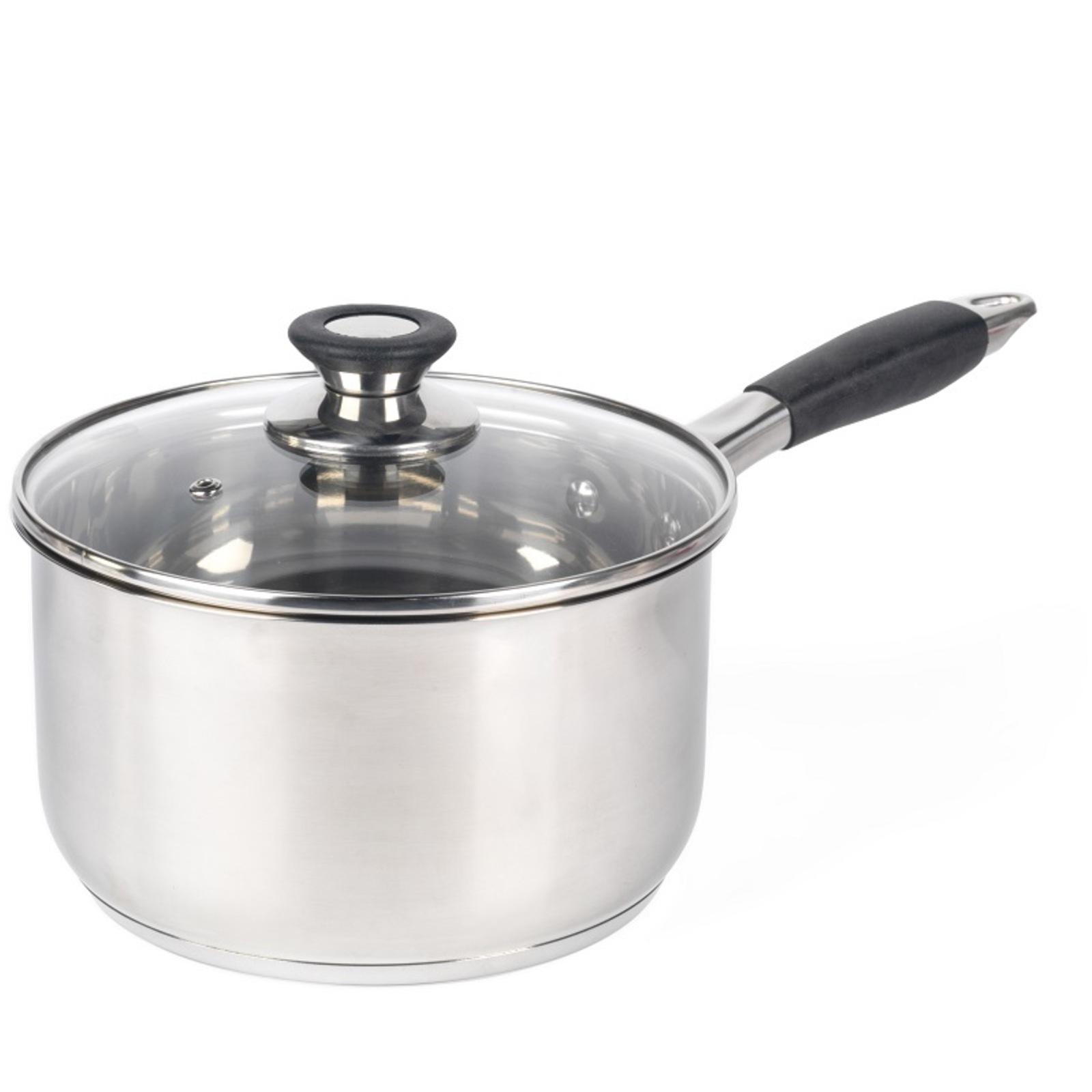 Salter 20cm Stainless Steel Non Stick Saucepan Black Handle Dishwasher Safe