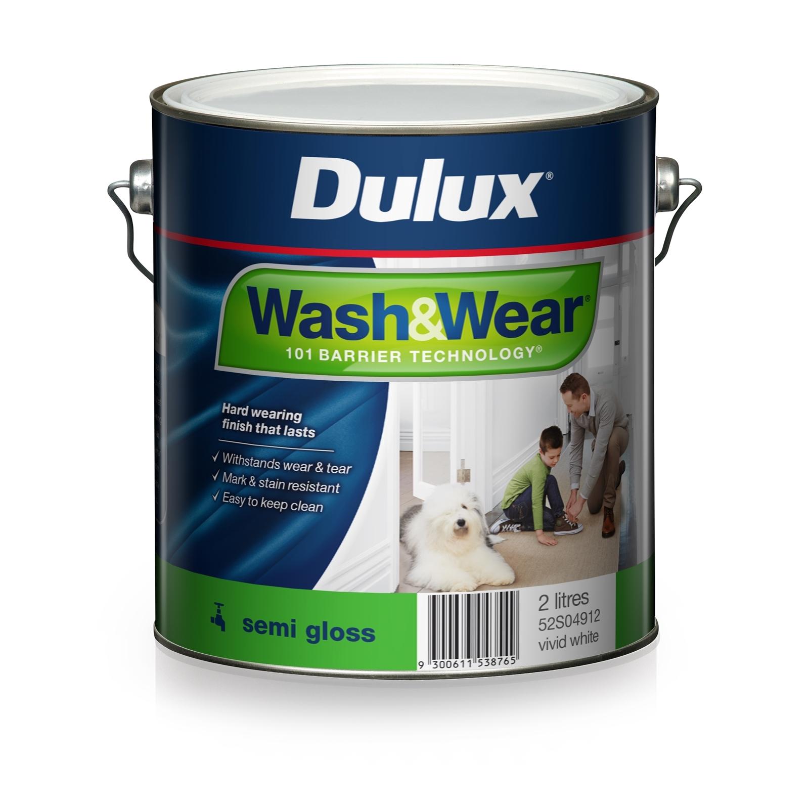 Dulux Wash & Wear 2L Vivid White Semi Gloss Interior Paint