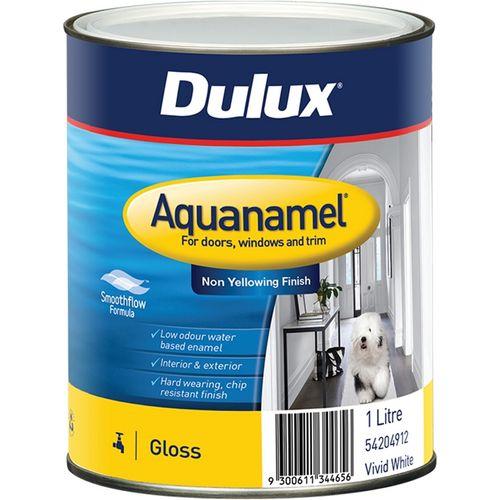 Dulux 1L White Aquanamel High Gloss Enamel Paint