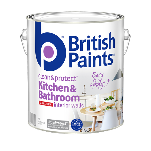 British Paints Low Sheen White Clean And Protect Kitchen And Bathroom Interior Paint - 4L