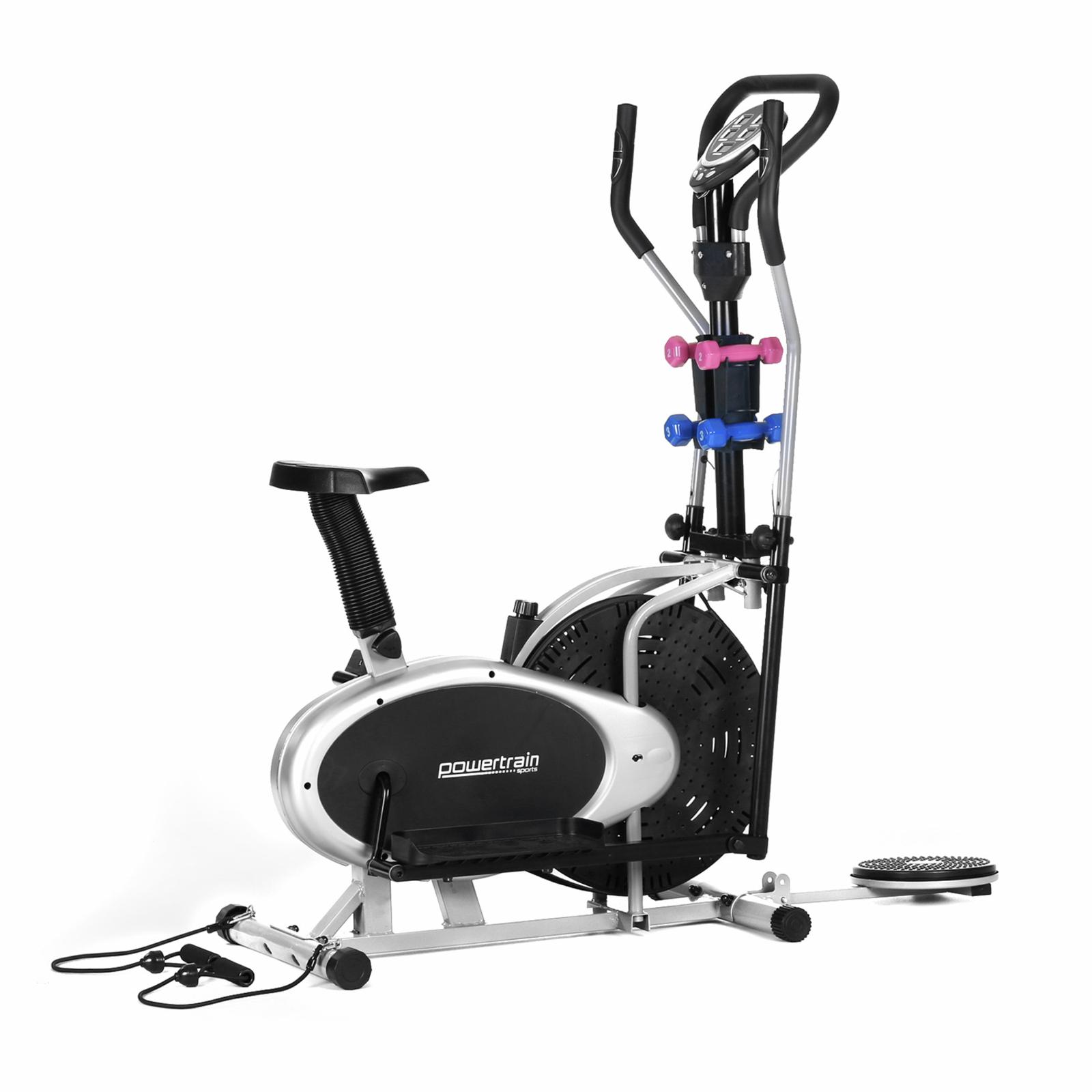 PowerTrain Elliptical Cross Trainer Exercise Bike With Dumbbells & Resistance Bands