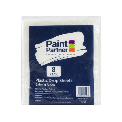 Paint Partner 2.6m x 3.6m Clear Plastic Drop Sheet - 8 Pack