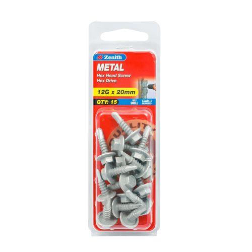 Zenith 12G x 20mm Galvanised Hex Head Metal Screws - 15 Pack