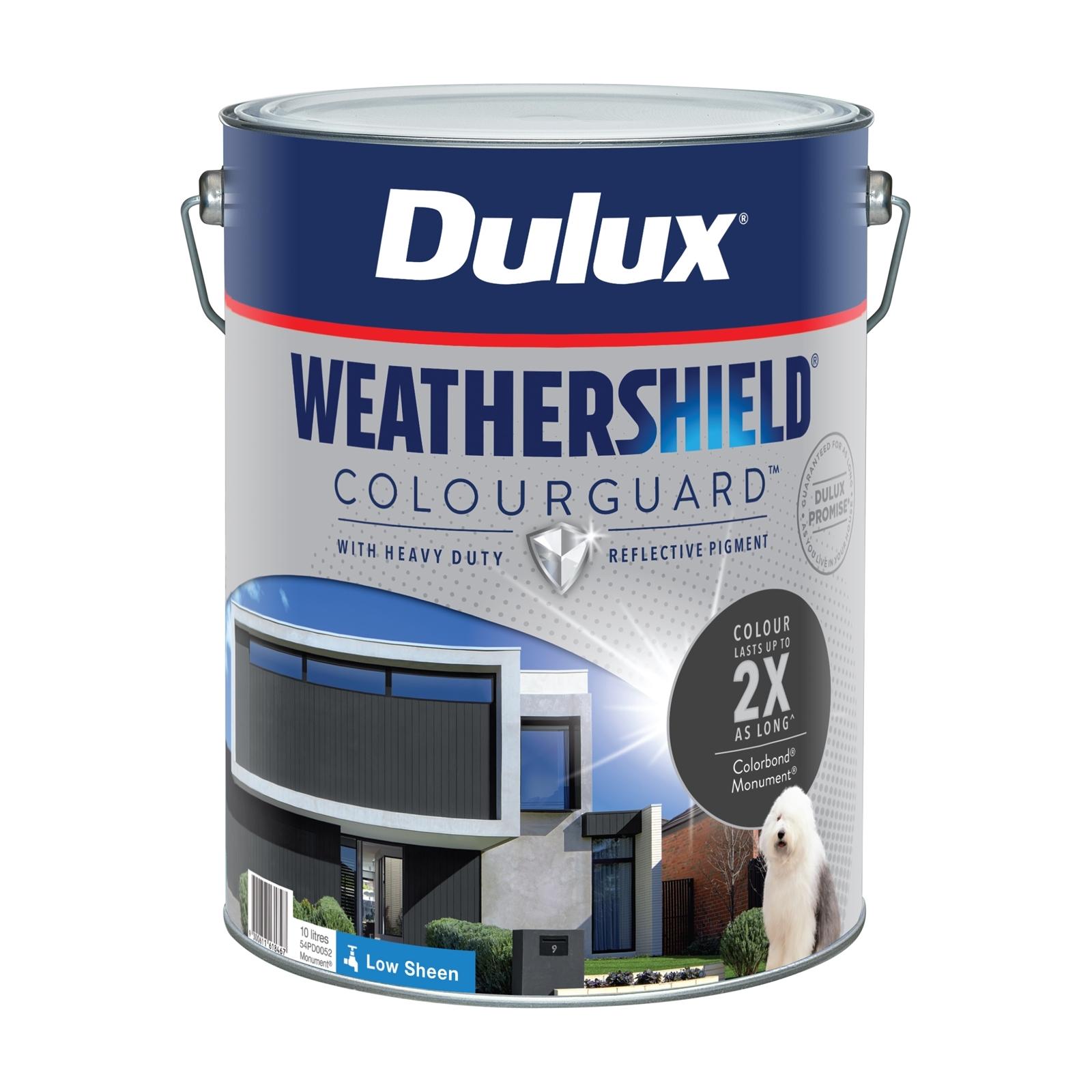 Dulux 10L Low Sheen Monument Weathershield ColourGuard Exterior Paint