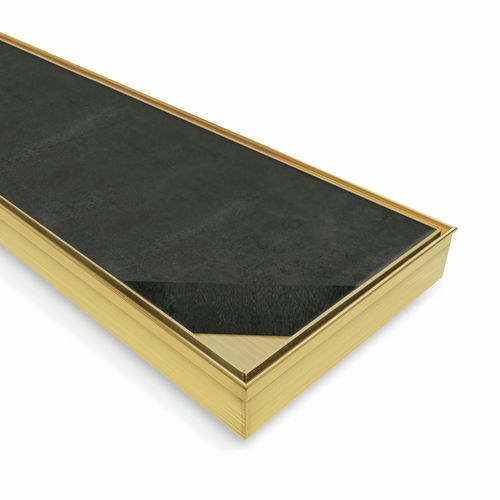 Forme 900 × 100mm Brushed Gold PVD Stainless Steel Tile Insert Floor Waste