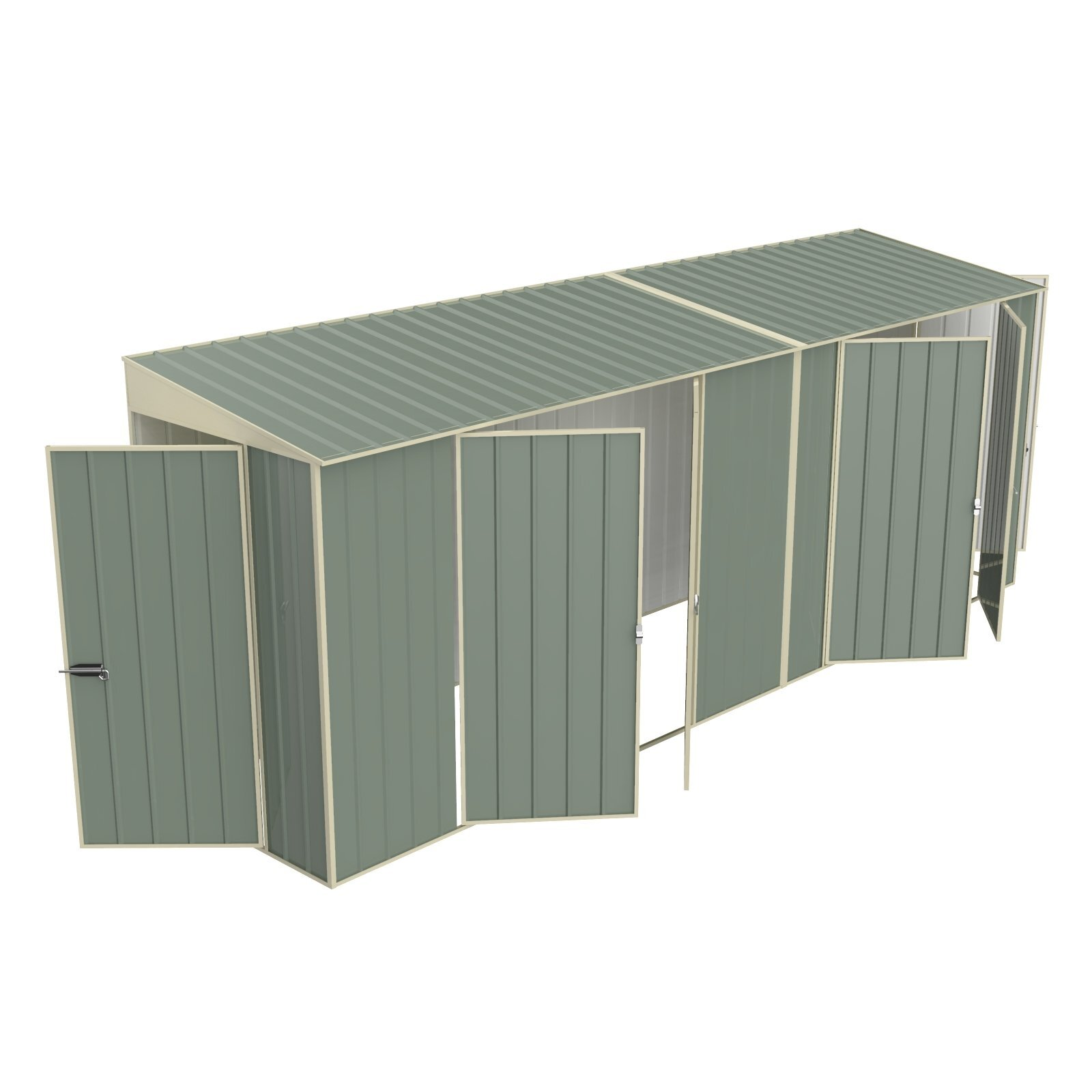 Build-a-Shed 1.2 x 5.2 x 2.0m Tunnel Shed Tunnel Hinged Door Plus Dual Double Hinged Side Doors - Green