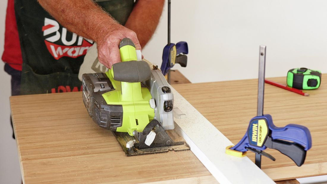 DIY Step Image - How to cut a bamboo benchtop . Blob storage upload.