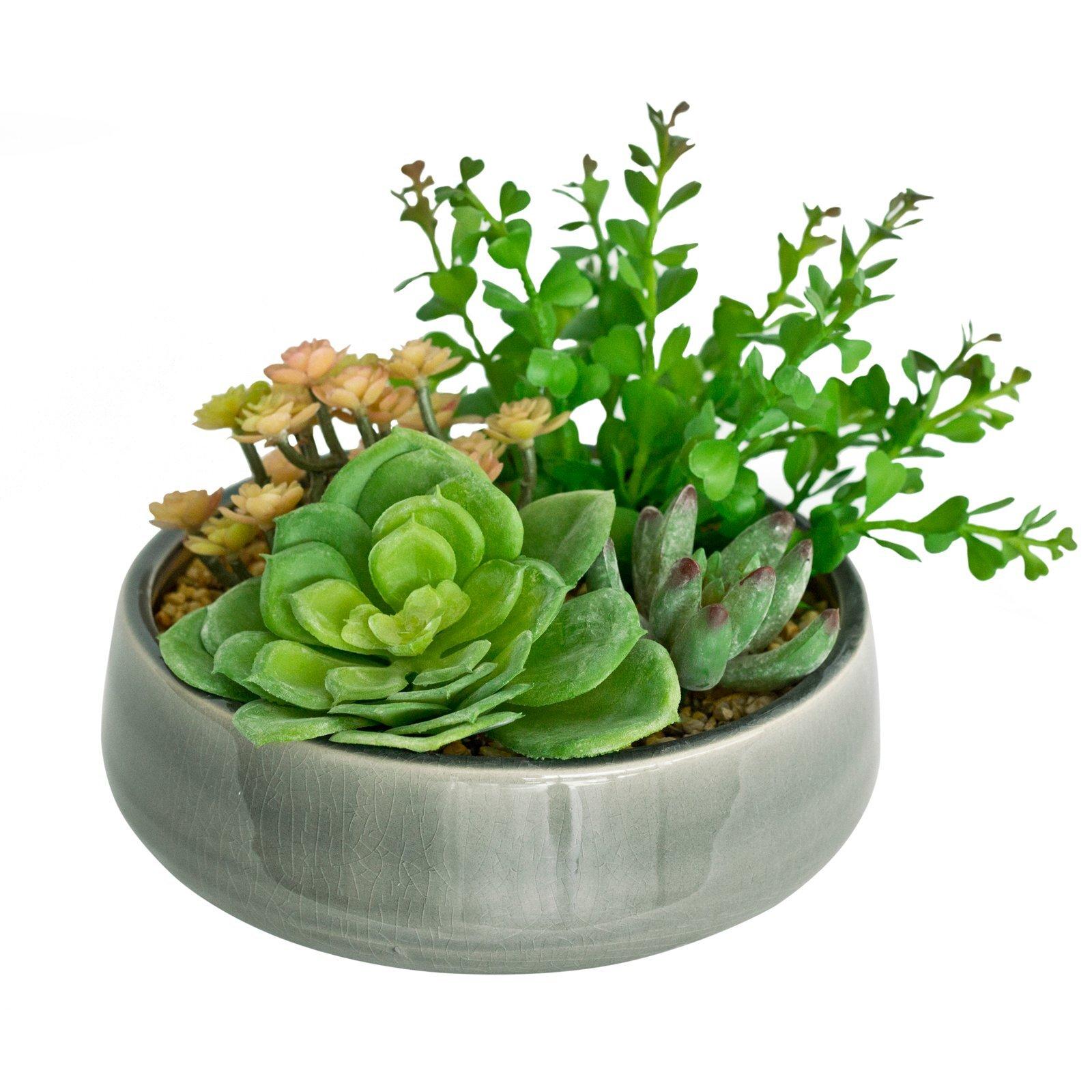UN-REAL 17cm Artificial Succulent Quad In Grey Pot