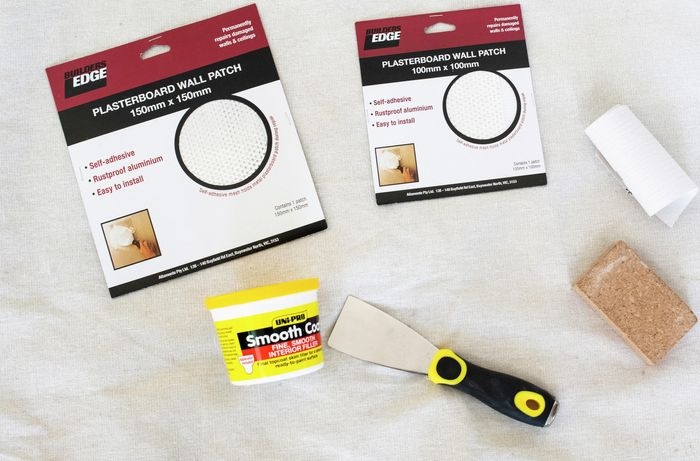 The tools and materials you need to fix a hole in the wall