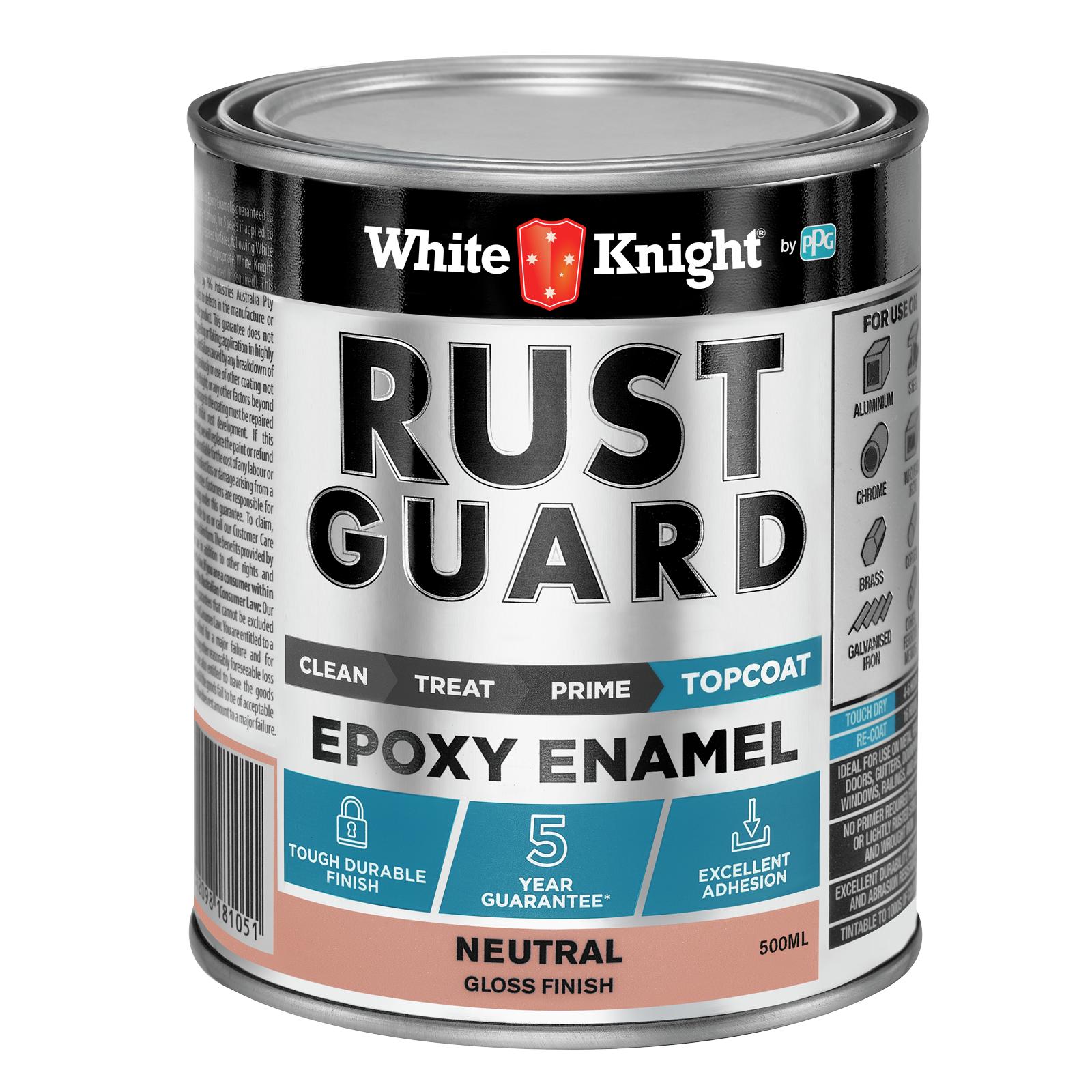 White Knight Rust Guard Gloss Neutral Epoxy Enamel Paint - 0.5L