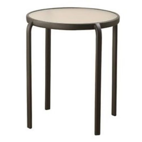 Marquee Round Glass Top Steel Side Table