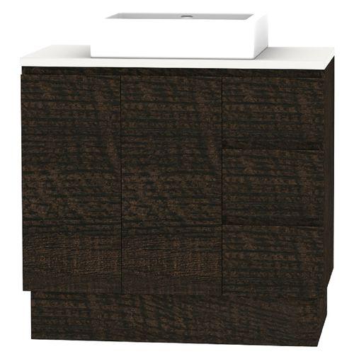 Forme 900mm Mont Albert Freestanding Vanity With Blanc Stone And Comet Basin - RH Drawers - Dark Chocolate