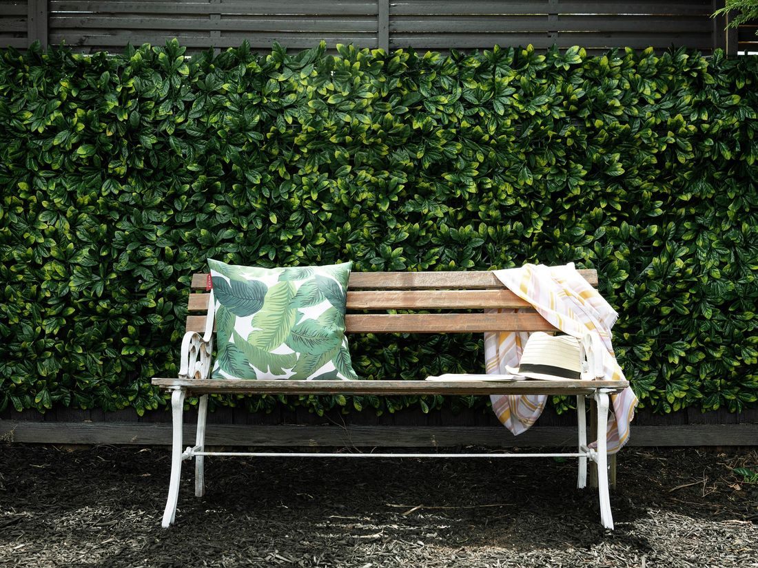 DIY Step Image - How to create a green wall using artificial hedge. Blob storage upload.