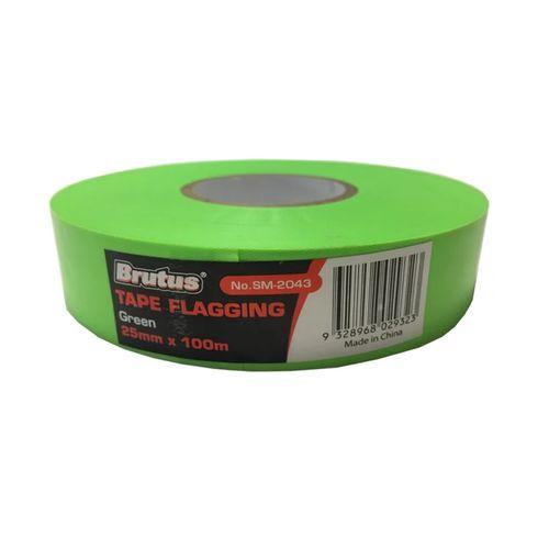 Brutus 25mm x 100m Green Flag Tape