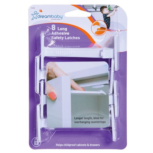 Dreambaby Adhesive Long Safety Catches - 8 Pack