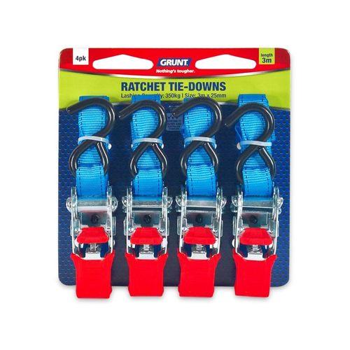 Grunt 25mm x 3m Ratchet Tie Down Straps - 4 Pack