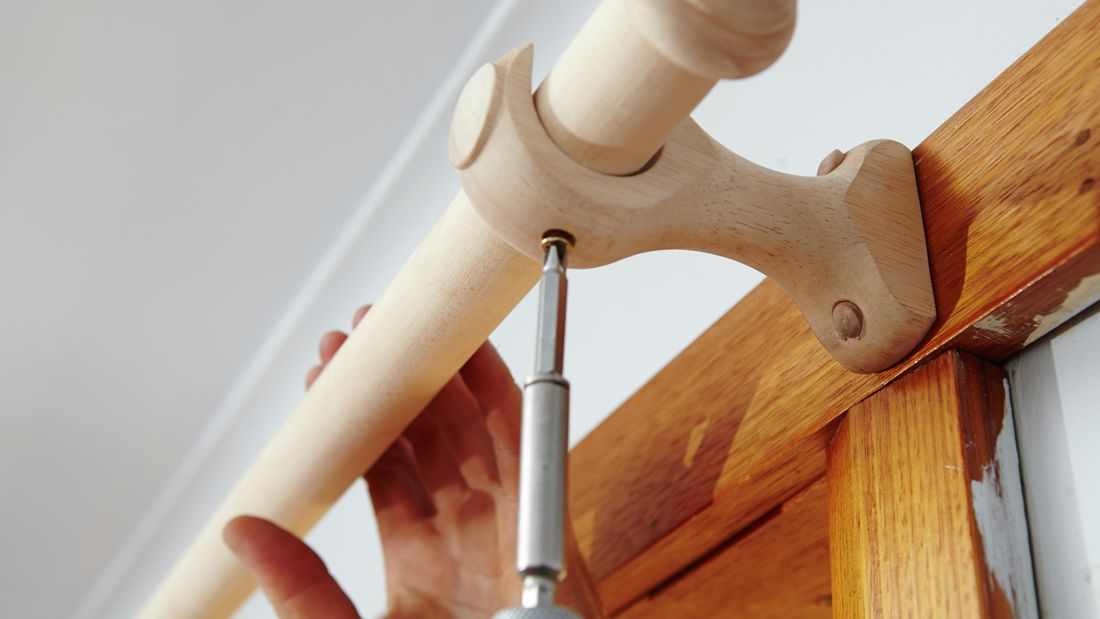 DIY Step Image - How to install curtain rods . Blob storage upload.