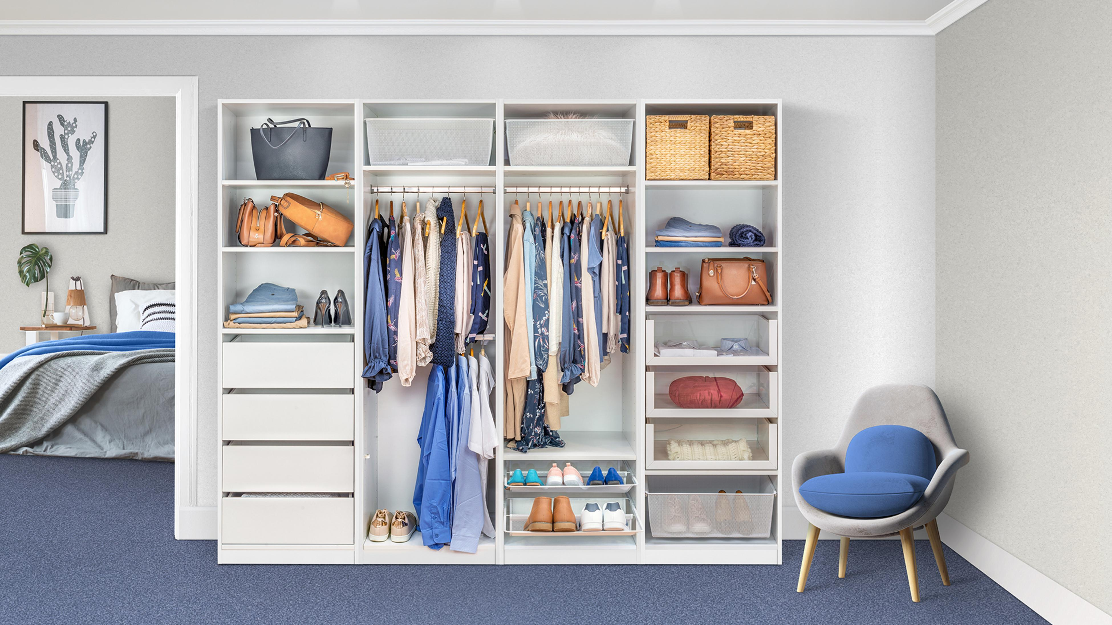 Organised wardrobe with blouses hanging.