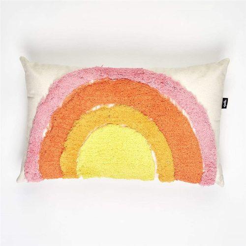 Jewelchic Tuft Rainbow Cushion Warm