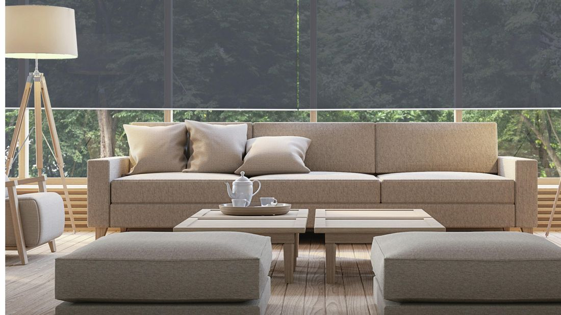 Modern living room with a semi-transparent window blind