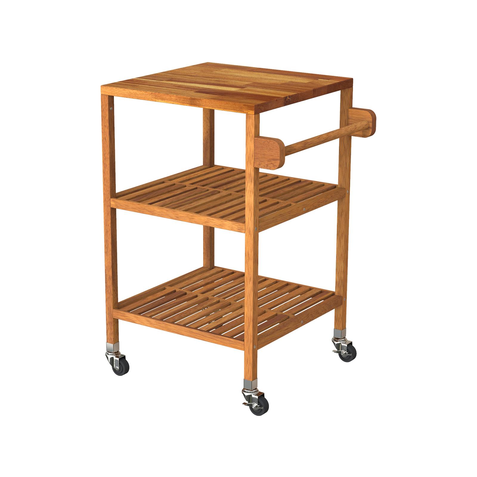 Interbuild 52 x 52 x 85cm Golden Teak Holger Quattro Kitchen Cart
