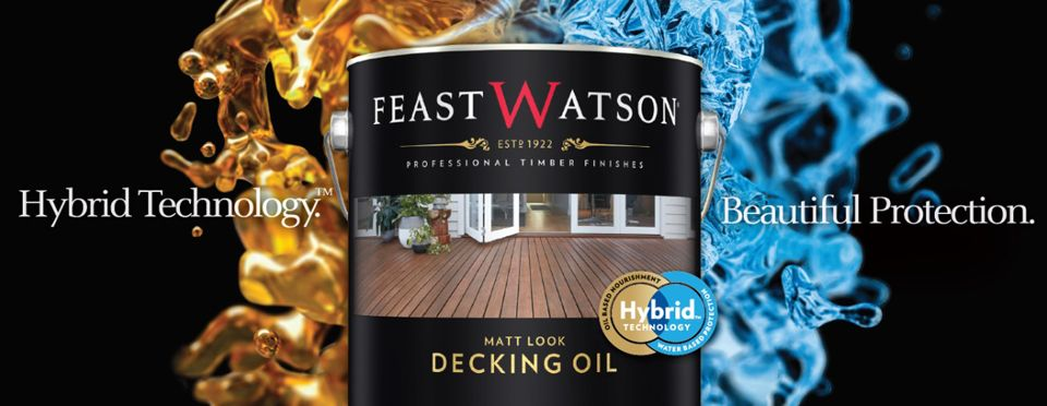 """Tin of Feast Watson decking oil with """"Hybrid Technology"""" """"Beautiful Protection"""""""