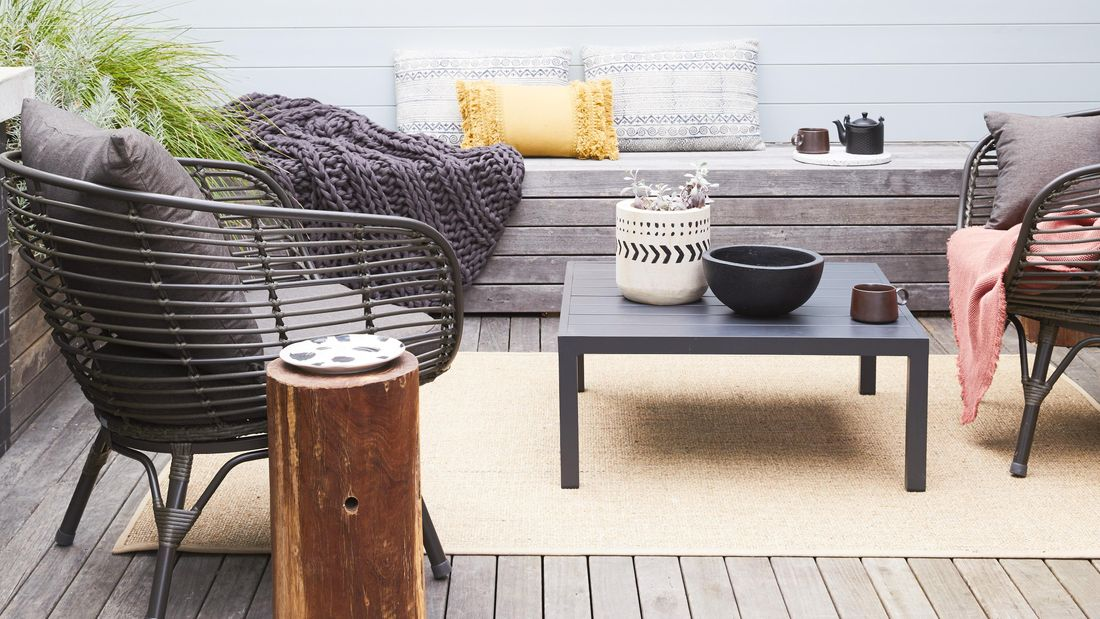 outdoor setting with furniture and bbq