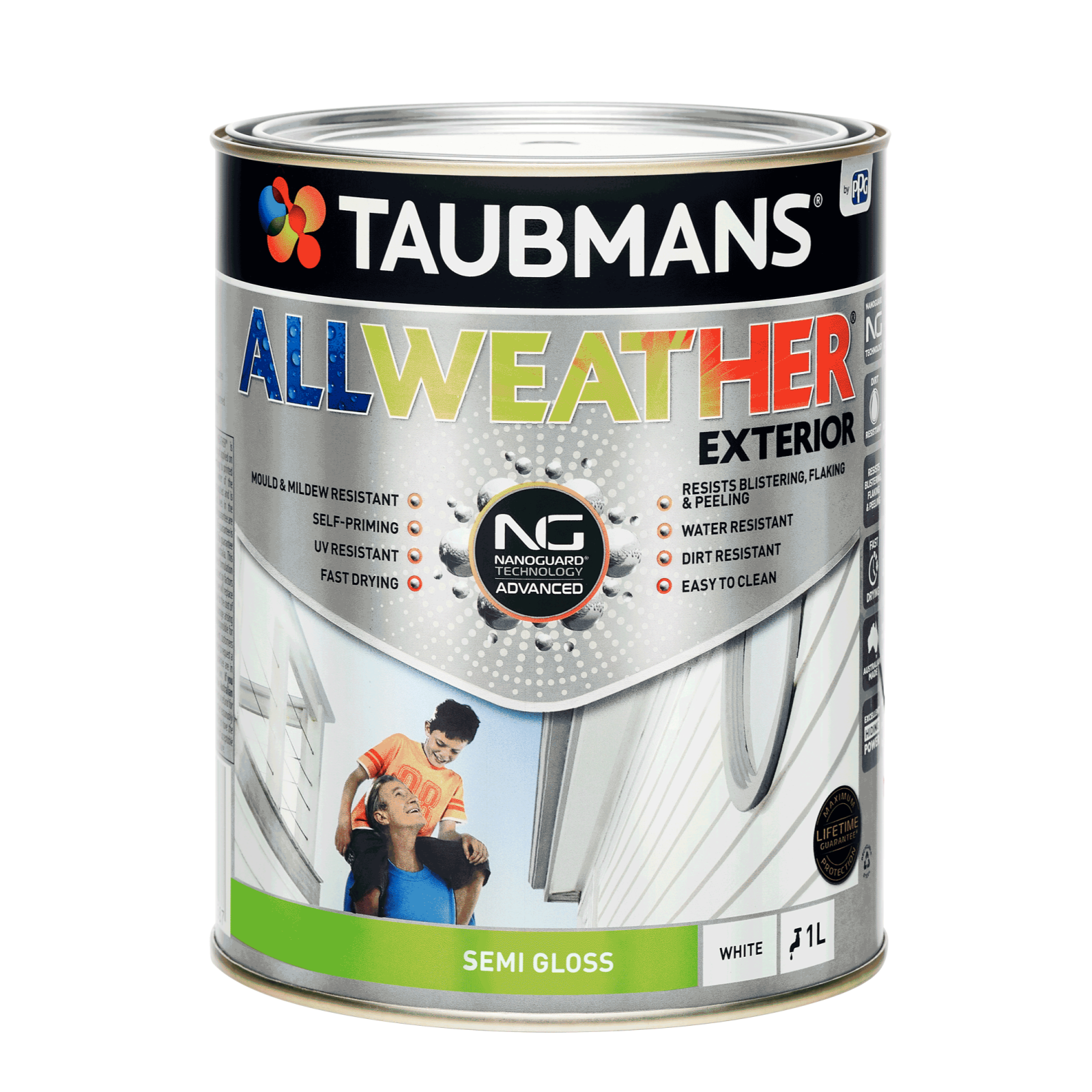 Taubmans 1L White Semi Gloss All Weather Exterior Paint