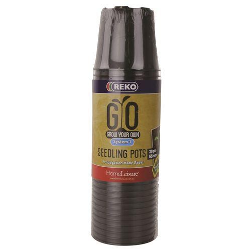 REKO GYO 55mm Black Grow Your Own Seedling Pot - 30 Pack