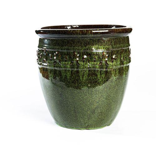 Tuscan Path 20 x 20cm Green Glazed Studded Pot