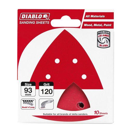 Diablo 93 x 93mm 120 Grit Abrasive All Surface Detail Sander Sheets - 10 Pack