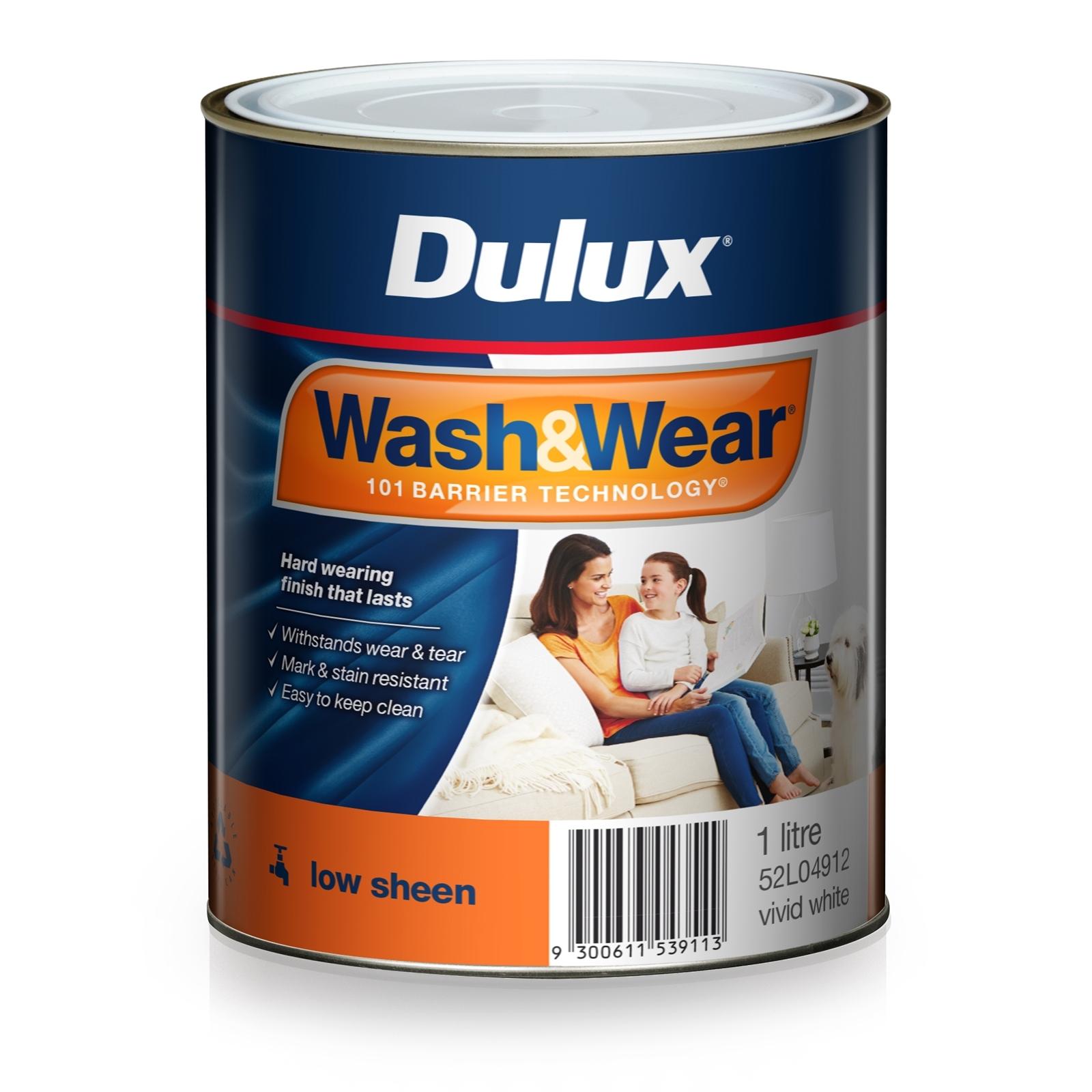 Dulux 1L Interior Paint Wash&Wear Low Sheen Vivid White