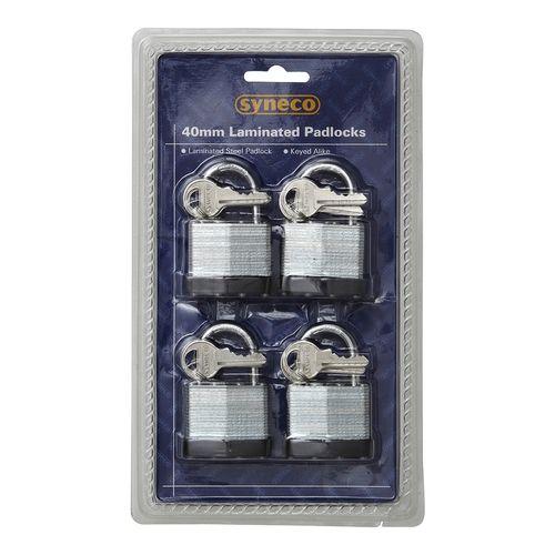 Syneco 40mm Laminated Steel Padlock - 4 Pack