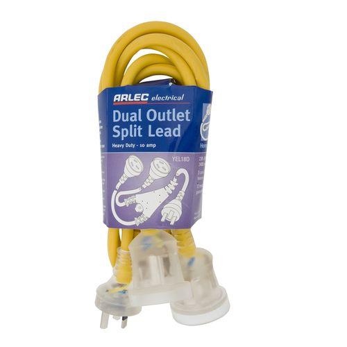 Arlec 1.8m Heavy Duty Dual Output Split Extension Lead